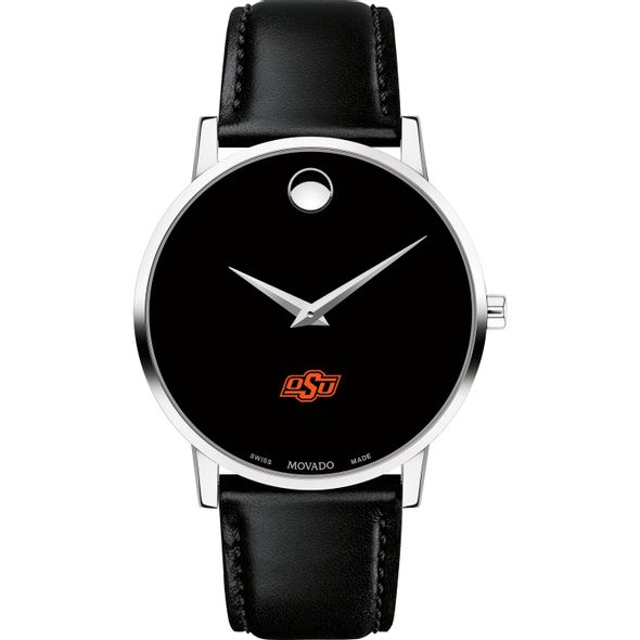 Oklahoma State University Men's Movado Museum with Leather Strap - Image 2