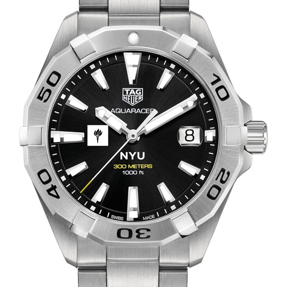 New York University Men's TAG Heuer Steel Aquaracer with Black Dial