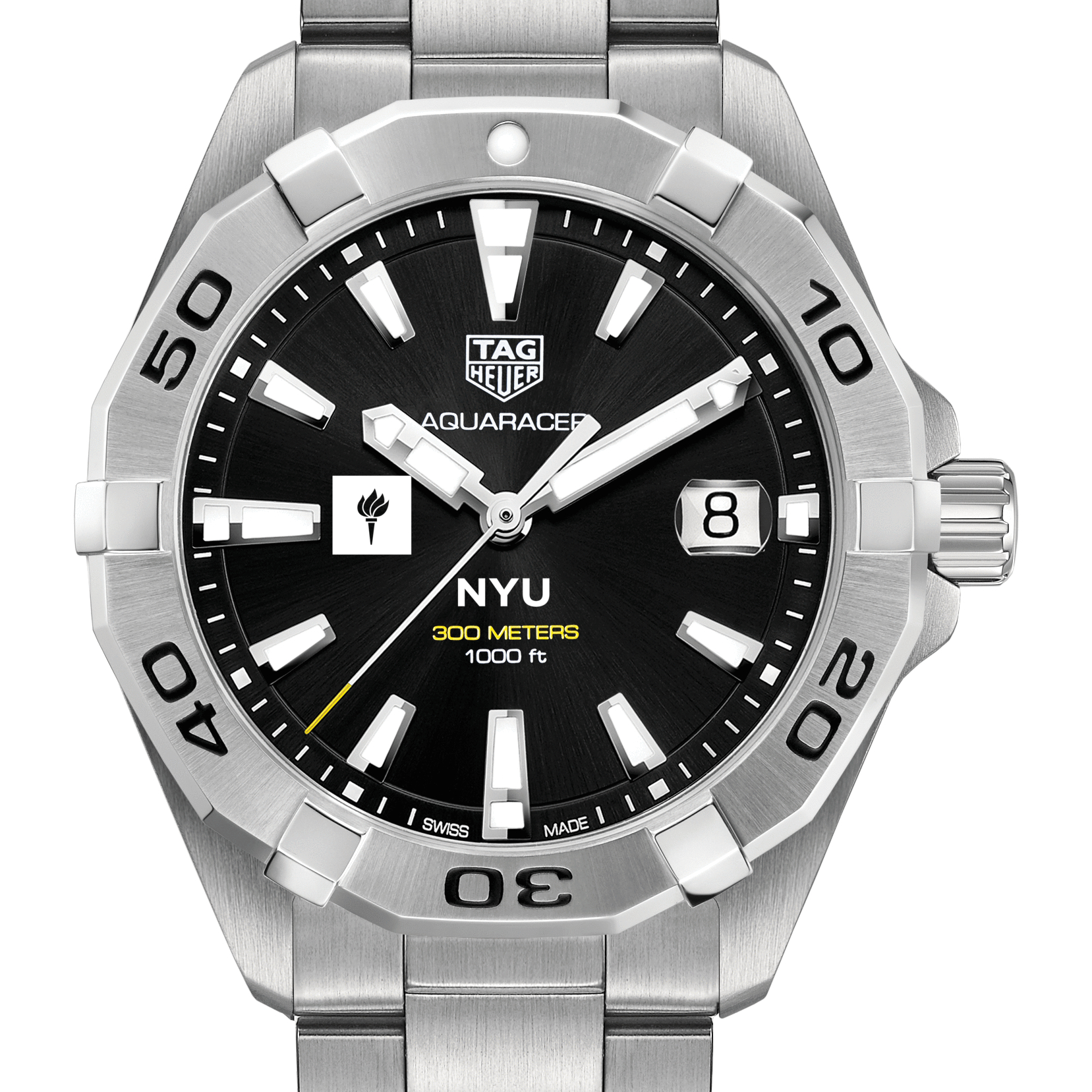 NYU Men's TAG Heuer Steel Aquaracer with Black Dial