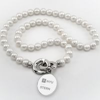 NYU Stern Pearl Necklace with Sterling Silver Charm