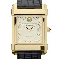 WashU Men's Gold Quad with Leather Strap