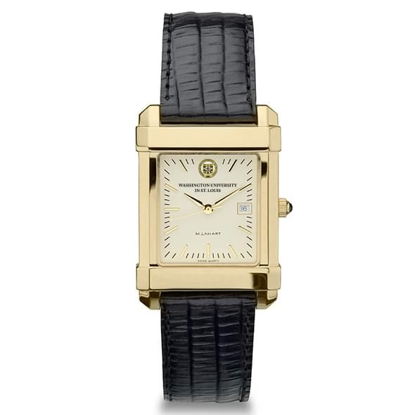 WUSTL Men's Gold Quad Watch with Leather Strap - Image 2