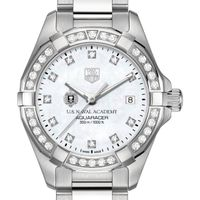 Naval Academy Women's TAG Heuer Steel Aquaracer with MOP Diamond Dial & Diamond Bezel