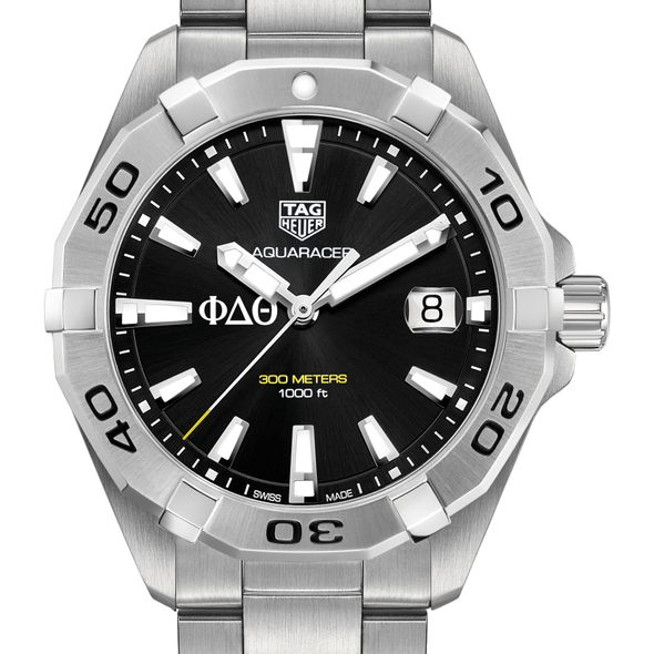 Phi Delta Theta Men's TAG Heuer Steel Aquaracer with Black Dial - Image 1