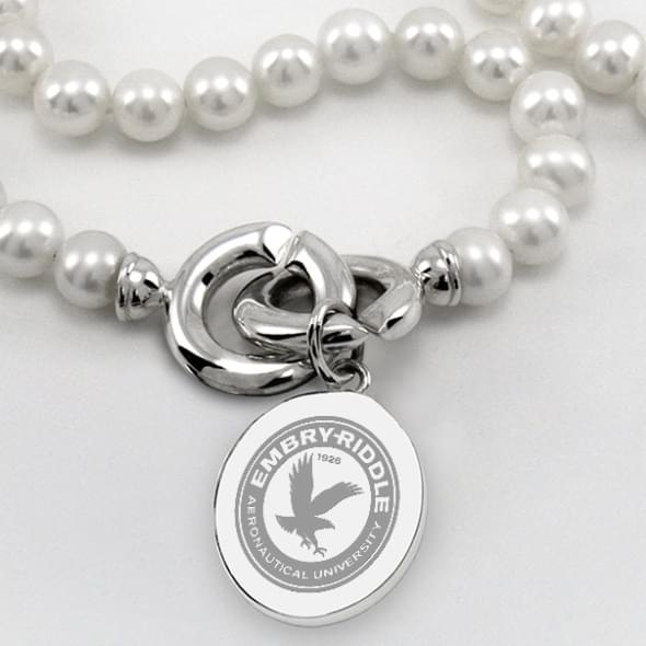 Embry-Riddle Pearl Necklace with Sterling Silver Charm - Image 2