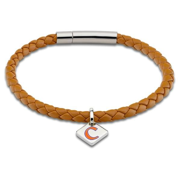 Clemson Leather Bracelet with Sterling Silver Tag - Saddle