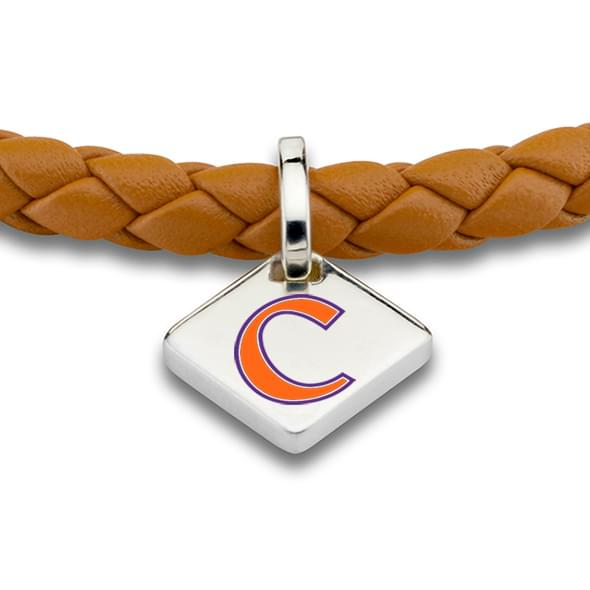 Clemson Leather Bracelet with Sterling Silver Tag - Saddle - Image 2