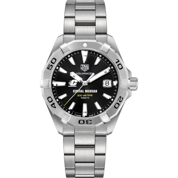 Central Michigan Men's TAG Heuer Steel Aquaracer with Black Dial - Image 2