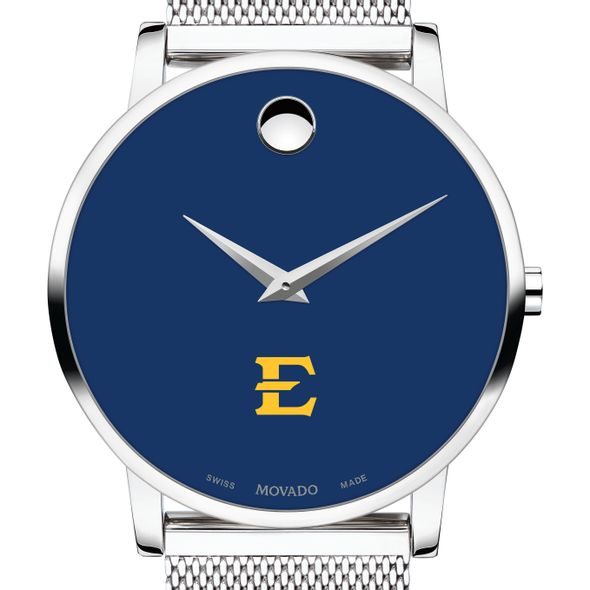 East Tennessee State University Men's Movado Museum with Blue Dial & Mesh Bracelet