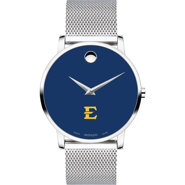 East Tennessee State University Men's Movado Museum with Blue Dial & Mesh Bracelet - Image 2