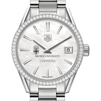 Brown Women's TAG Heuer Steel Carrera with MOP Dial & Diamond Bezel