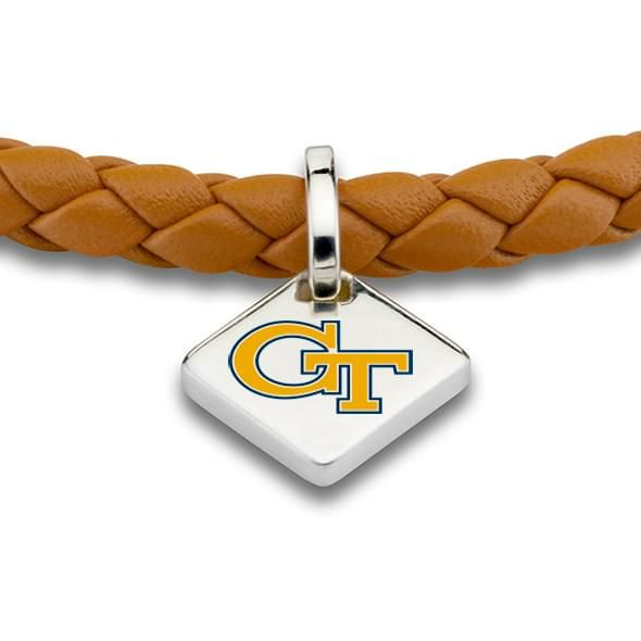 Georgia Tech Leather Bracelet with Sterling Tag - Saddle - Image 2