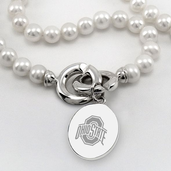 Ohio State Pearl Necklace with Sterling Silver Charm - Image 1