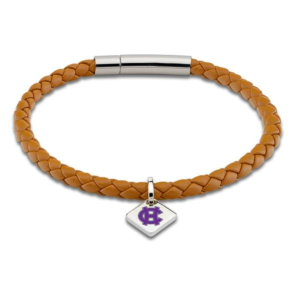 Holy Cross Leather Bracelet with Sterling Silver Tag - Saddle