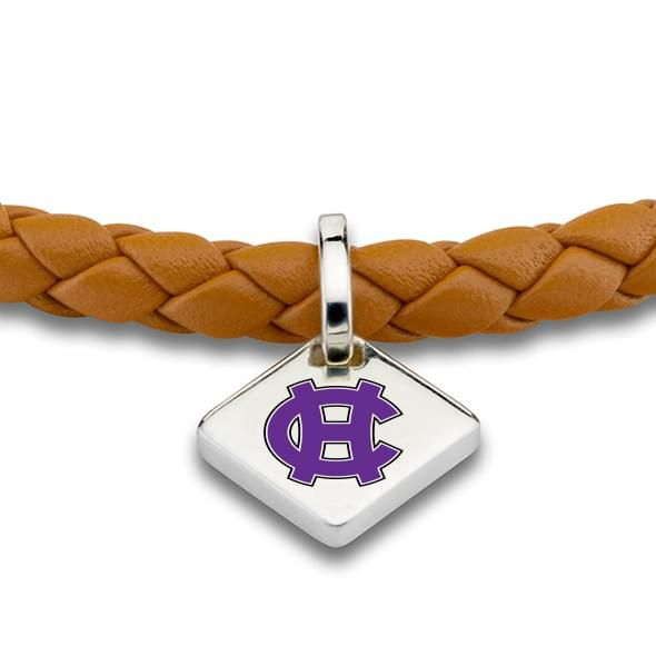 Holy Cross Leather Bracelet with Sterling Silver Tag - Saddle - Image 2