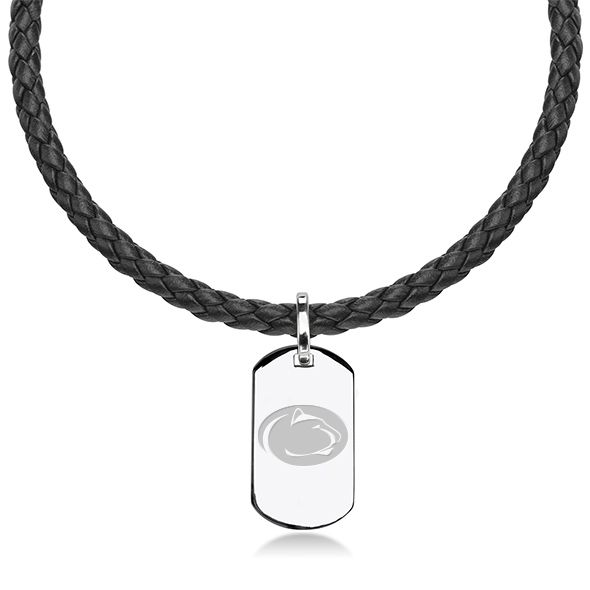 Penn State Leather Necklace with Sterling Dog Tag
