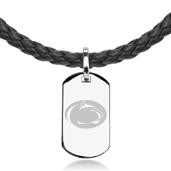 Penn State Leather Necklace with Sterling Dog Tag - Image 2