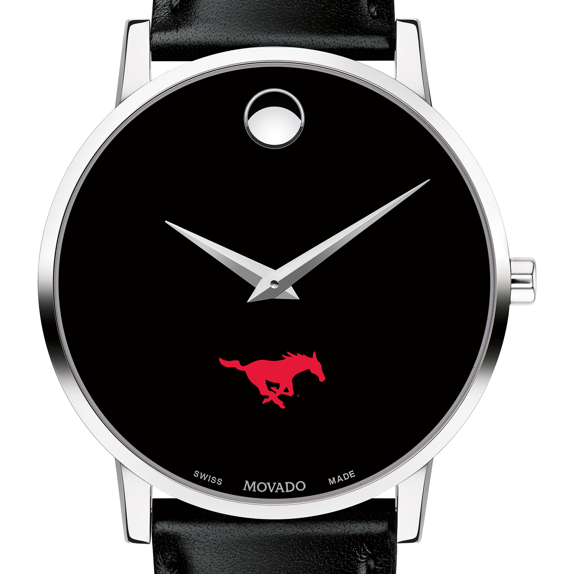 SMU Men's Movado Museum with Leather Strap