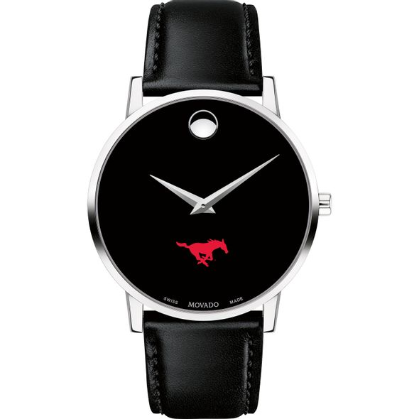Southern Methodist University Men's Movado Museum with Leather Strap - Image 2