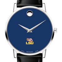 Louisiana State University Men's Movado Museum with Blue Dial & Leather Strap