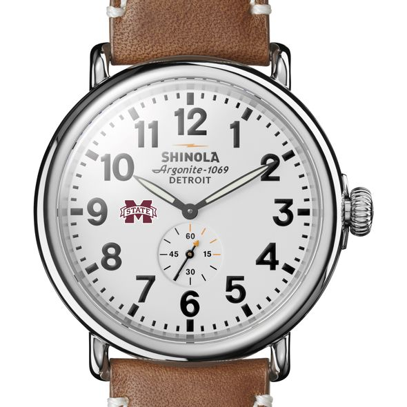 MS State Shinola Watch, The Runwell 47mm White Dial - Image 1