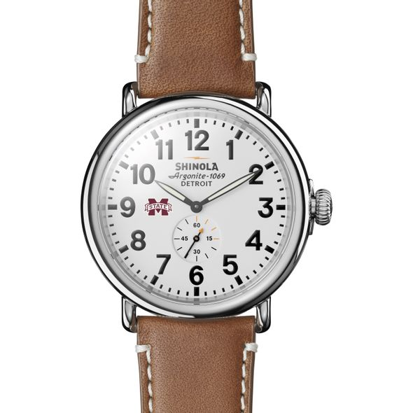 MS State Shinola Watch, The Runwell 47mm White Dial - Image 2