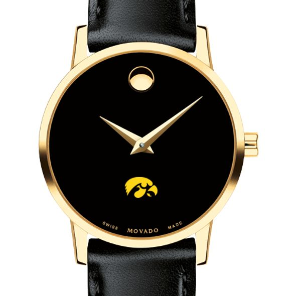 University of Iowa Women's Movado Gold Museum Classic Leather