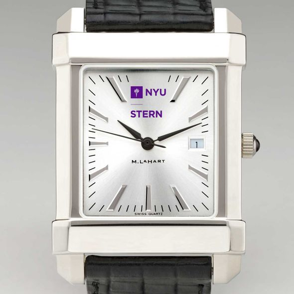 NYU Stern Men's Collegiate Watch with Leather Strap - Image 1