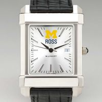 Michigan Ross Men's Collegiate Watch with Leather Strap
