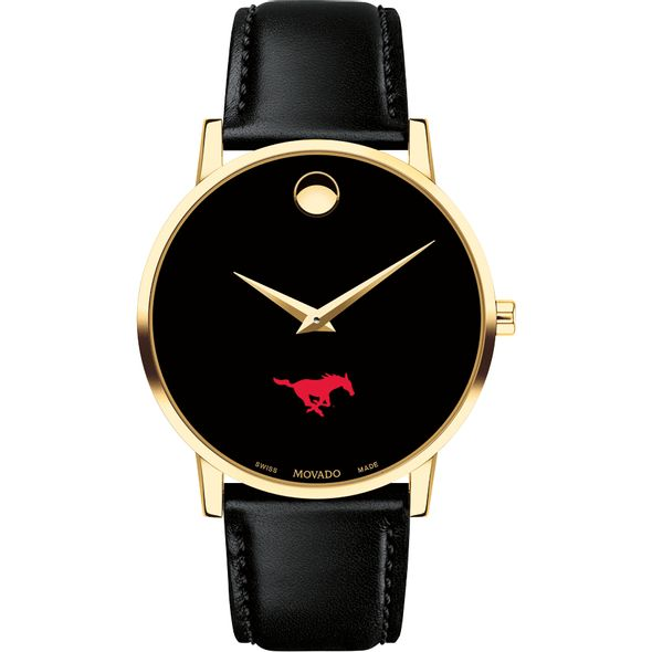Southern Methodist University Men's Movado Gold Museum Classic Leather - Image 2