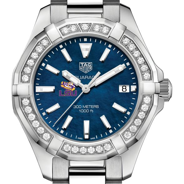 LSU Women's TAG Heuer 35mm Steel Aquaracer with Blue Dial - Image 1