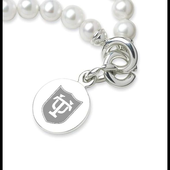 Tulane Pearl Bracelet with Sterling Silver Charm - Image 2
