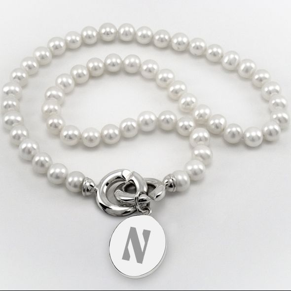 Northwestern Pearl Necklace with Sterling Silver Charm