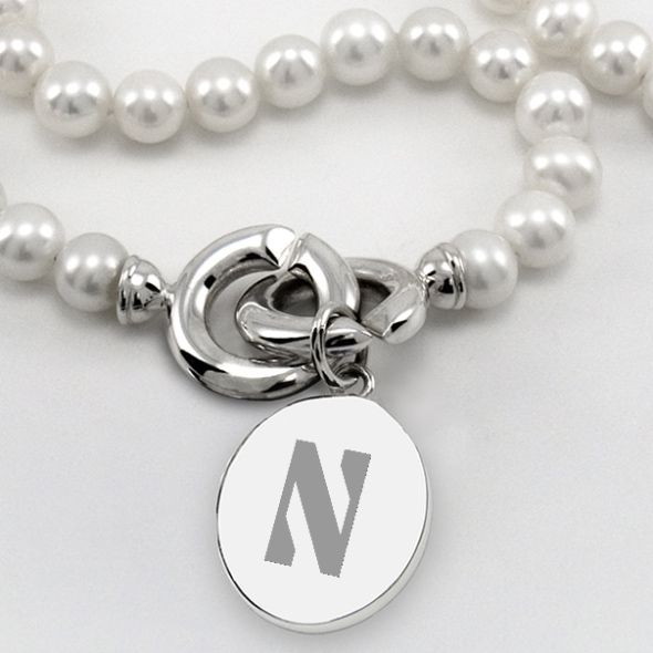 Northwestern Pearl Necklace with Sterling Silver Charm - Image 2