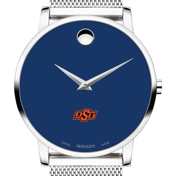 Oklahoma State University Men's Movado Museum with Blue Dial & Mesh Bracelet