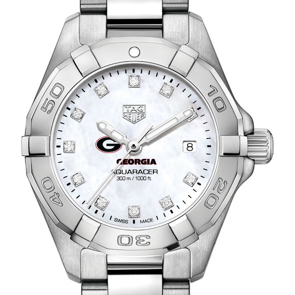 University of Georgia W's TAG Heuer Steel Aquaracer w MOP Dia Dial