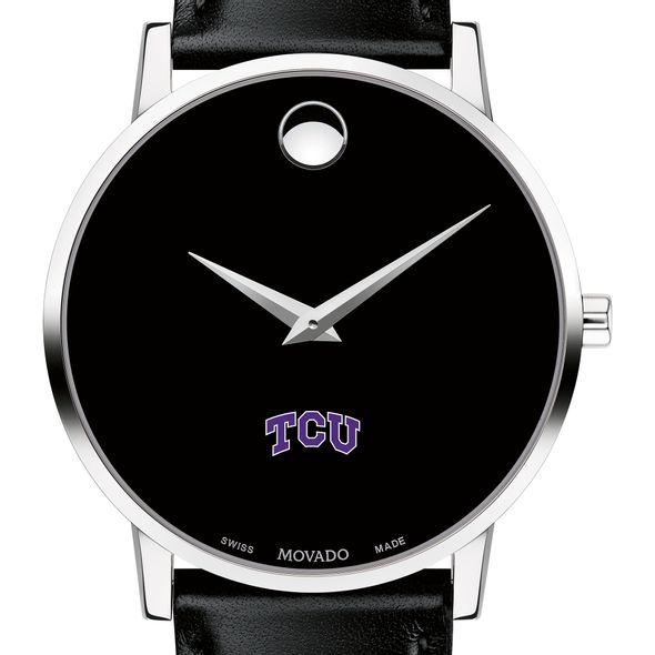 Texas Christian University Men's Movado Museum with Leather Strap