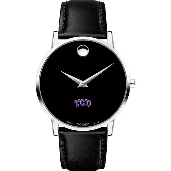 Texas Christian University Men's Movado Museum with Leather Strap - Image 2