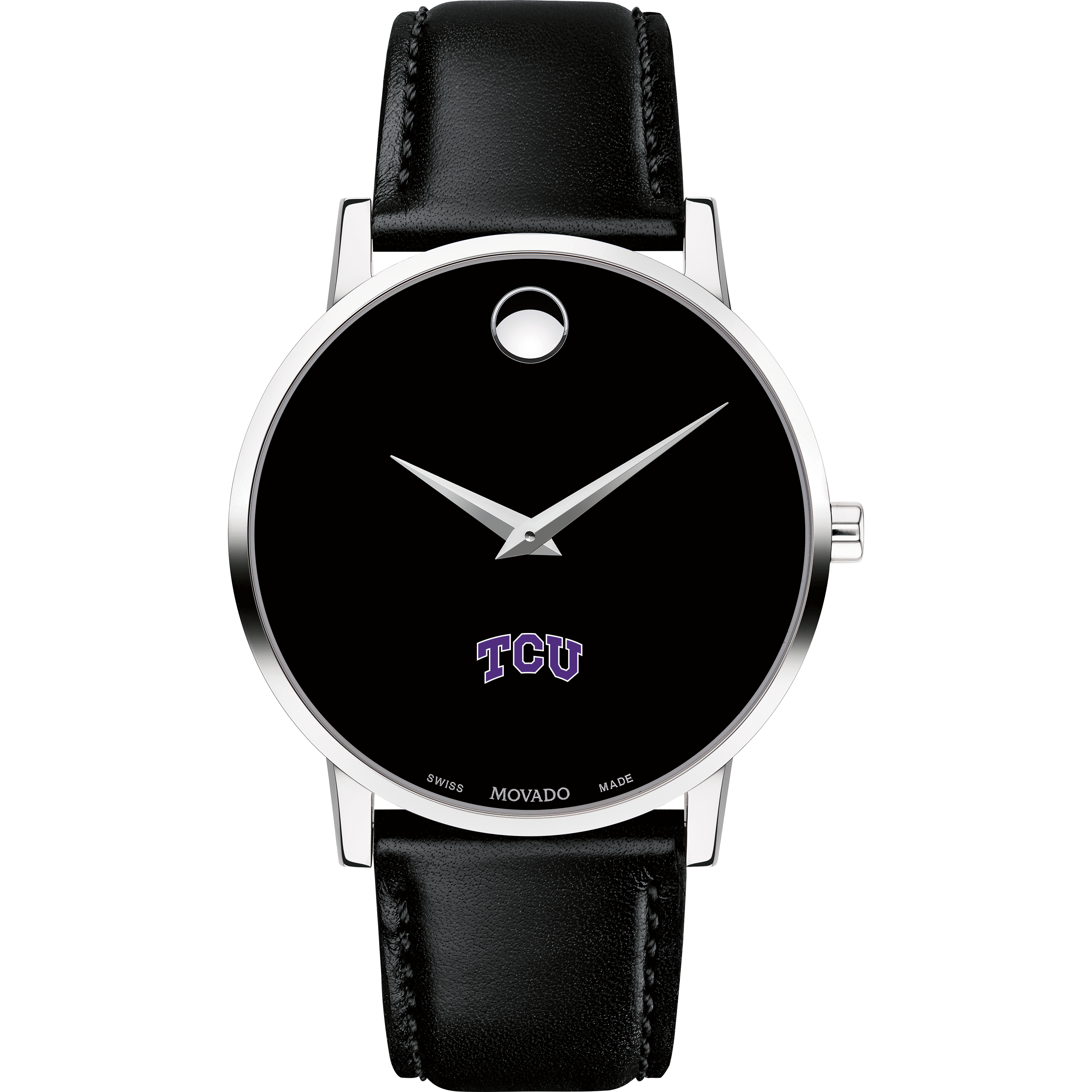 TCU Men's Movado Museum with Leather Strap - Image 2