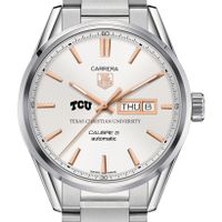 Texas Christian University Men's TAG Heuer Day/Date Carrera with Silver Dial & Bracelet