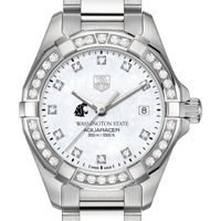 Washington State University W's TAG Heuer Steel Aquaracer with MOP Dia Dial & Bezel