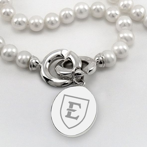 East Tennessee State University Pearl Necklace with Sterling Silver Charm - Image 2