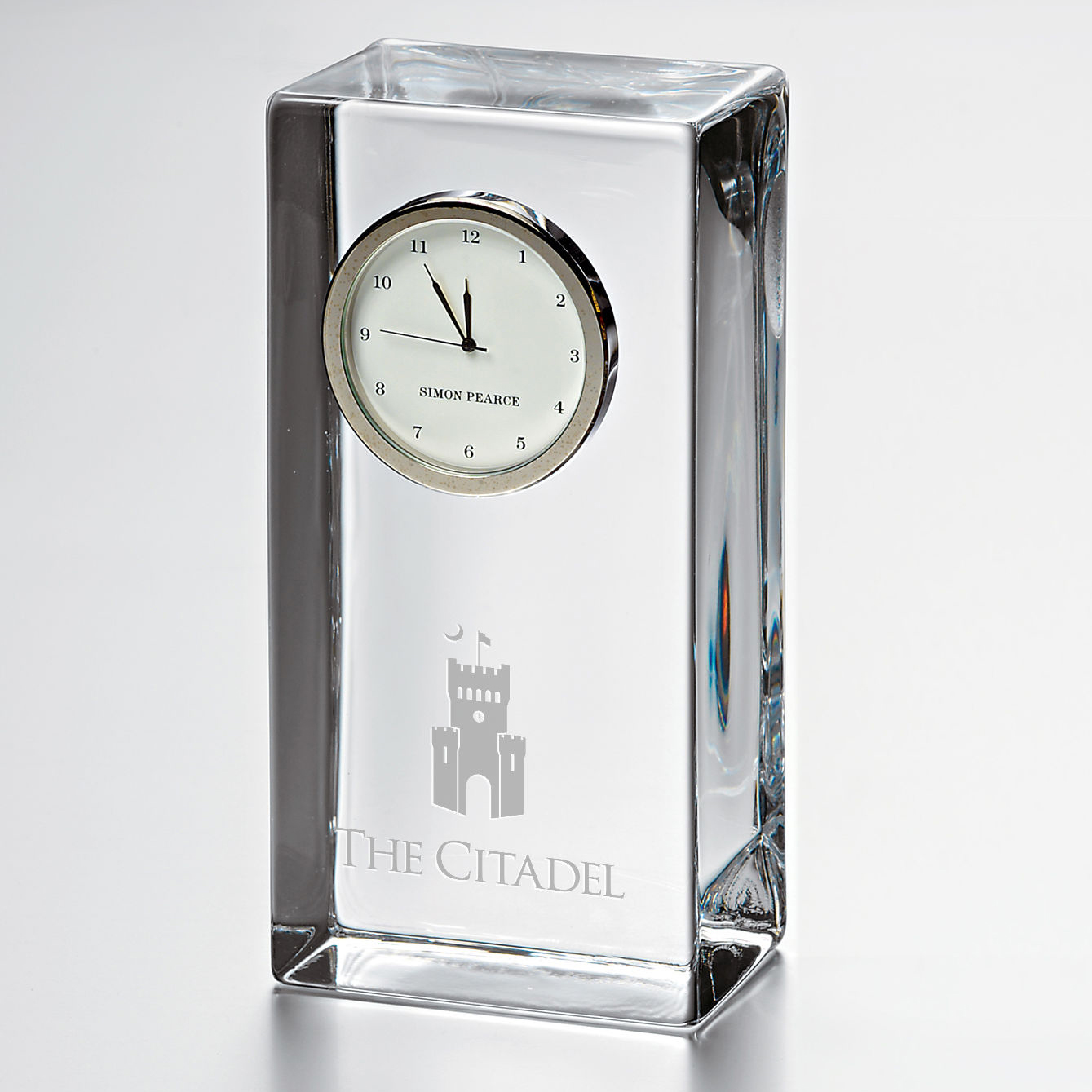 Citadel Tall Glass Desk Clock by Simon Pearce