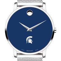 Michigan State University Men's Movado Museum with Blue Dial & Mesh Bracelet