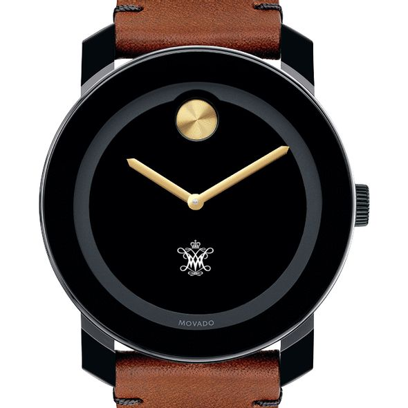 College of William & Mary Men's Movado BOLD with Brown Leather Strap