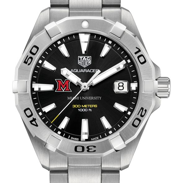 Miami University Men's TAG Heuer Steel Aquaracer with Black Dial - Image 1
