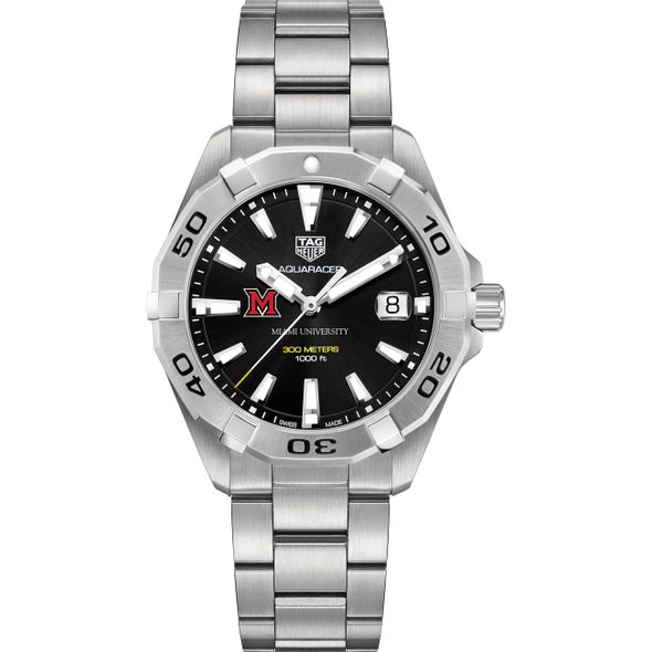 Miami University Men's TAG Heuer Steel Aquaracer with Black Dial - Image 2