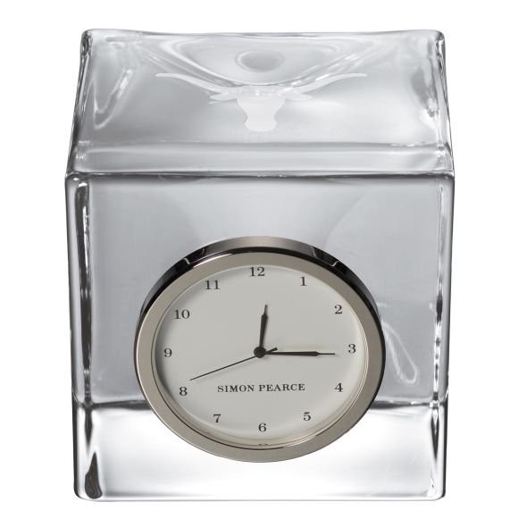 University of Texas Glass Desk Clock by Simon Pearce - Image 2