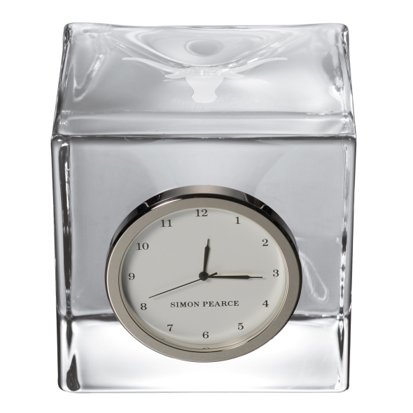 University of Texas Glass Desk Clock by Simon Pearce - Image 2