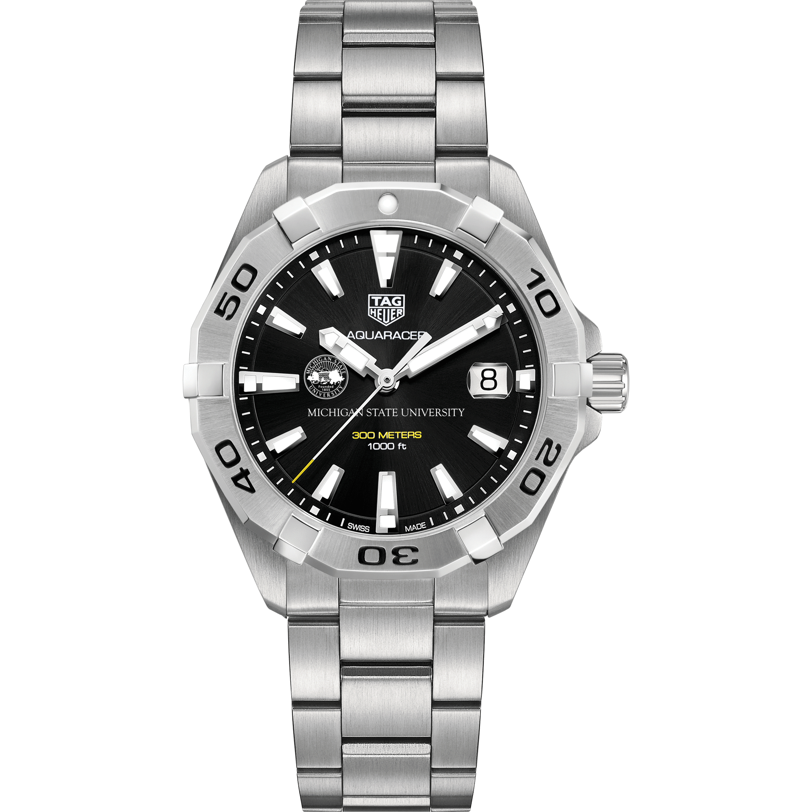 Michigan State Men's TAG Heuer Steel Aquaracer with Black Dial - Image 2